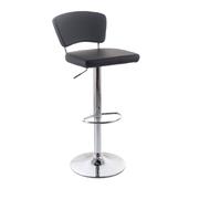 G21 Barová židle Redana black, koženková s opěradlem