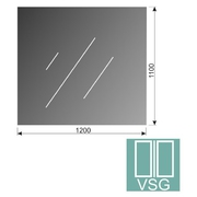 Čiré, lepené sklo 16,76-1200x1100-VSG
