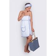 Kilt do sauny - univerzální, bílý s modrým lemem