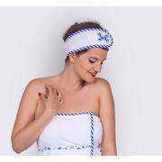 Čelenka do sauny, univerzální, bílá s modrým lemem