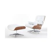 Kožené křeslo design Charles & Ray Eames replika (bílé)