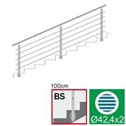 Nerezové zábradlí BS L3000, D42,4/5xd12/H1000