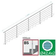 Nerezové zábradlí BS L6000, D42,4/5xd12/H1000