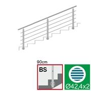 Nerezové zábradlí BS L3000, D42,4/4xd12/H900