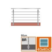 Nerezové zábradlí BR L1500, 40x40x2/4xd12/H900