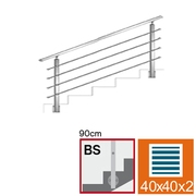 Nerezové zábradlí BS L1500, 40x40x2/4xd12/H900