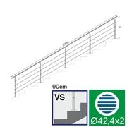 Nerezové zábradlí VS L6000, D42,4/4xl5/H900