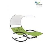 Vivere Double Chaise Rocker zahradní houpací postel, zelená