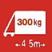 Délka/hmotnost 4,5m/300kg