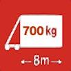 Délka/hmotnost 8m/700kg