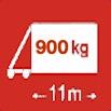 Délka/hmotnost 11m/900kg
